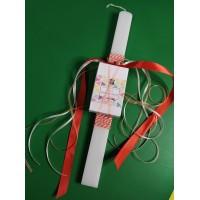 Λαμπάδα Λευκή πλάκέ 36cm με σαπούνι Φοίνιξ